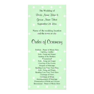 Mint Green Polka Dot Pattern. Wedding Program Rack Card
