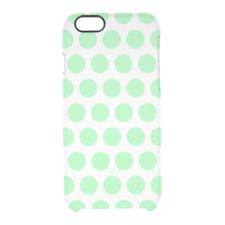 Mint Green Polka Dots Clear iPhone 6/6S Case