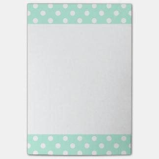 Mint green polka dots Post-It note pad