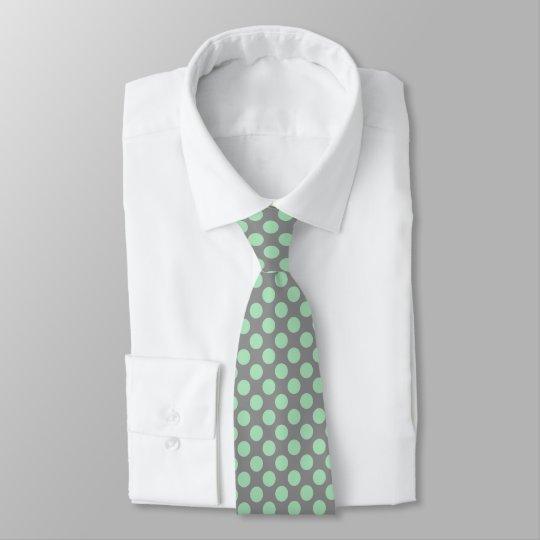 Mint-Green PolkaDots Patter Custom Grey Background Tie