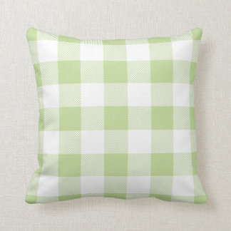Mint Green Preppy Buffalo Check Plaid Throw Pillow