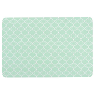 Mint Green Quatrefoil Geometric Pattern Floor Mat