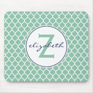 Mint Green Quatrefoil Monogram Mouse Mat