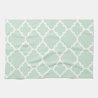 Mint Green Quatrefoil Moroccan Pattern Tea Towel