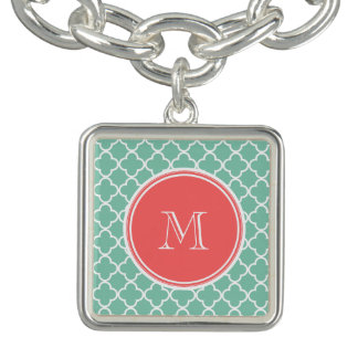 Mint Green Quatrefoil Pattern, Coral Monogram