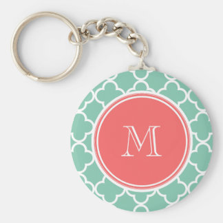 Mint Green Quatrefoil Pattern, Coral Monogram Basic Round Button Key Ring