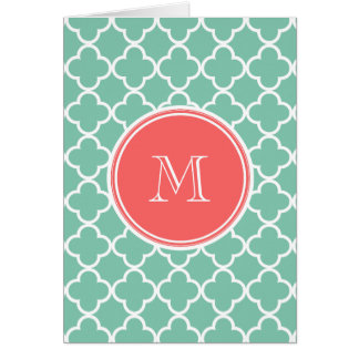Mint Green Quatrefoil Pattern, Coral Monogram Card