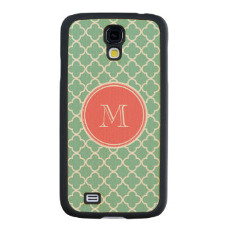 Mint Green Quatrefoil Pattern, Coral Monogram Carved® Maple Galaxy S4 Slim Case