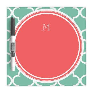 Mint Green Quatrefoil Pattern, Coral Monogram Dry Erase Board