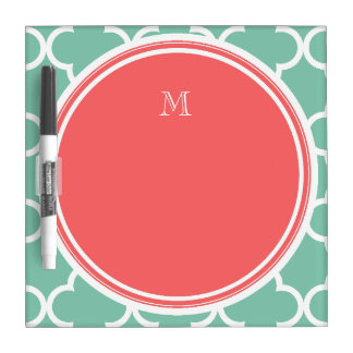 Mint Green Quatrefoil Pattern, Coral Monogram Dry-Erase Whiteboards