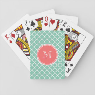 Mint Green Quatrefoil Pattern, Coral Monogram Playing Cards