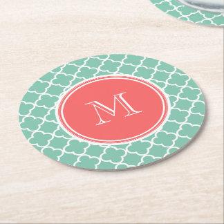 Mint Green Quatrefoil Pattern, Coral Monogram Round Paper Coaster