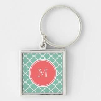 Mint Green Quatrefoil Pattern, Coral Monogram Silver-Colored Square Key Ring
