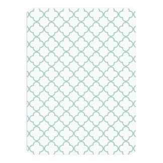 Mint Green Quatrefoil Pattern Personalized Invitation