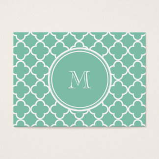 Mint Green Quatrefoil Pattern, Your Monogram Business Card