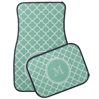 Mint Green Quatrefoil Pattern, Your Monogram Car Mat