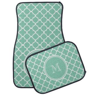 Mint Green Quatrefoil Pattern, Your Monogram Car Mat