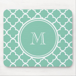 Mint Green Quatrefoil Pattern, Your Monogram Mouse Mat