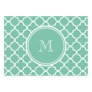 Mint Green Quatrefoil Pattern, Your Monogram Pack Of Chubby Business Cards