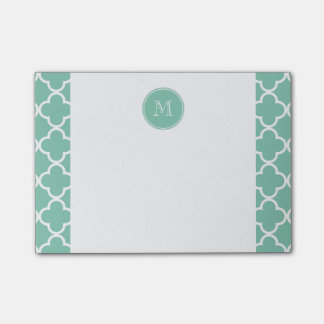 Mint Green Quatrefoil Pattern, Your Monogram Post-it Notes
