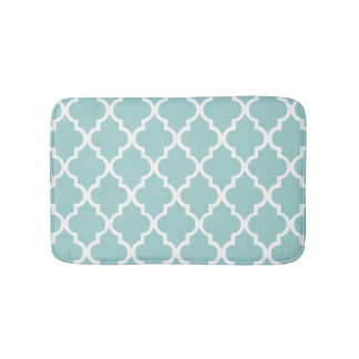 Mint Green Quatrefoil Tiles Pattern Bath Mat