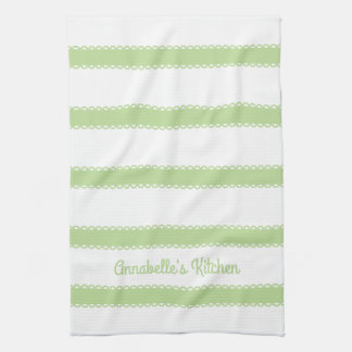 Mint Green Ribbons Personalized Tea Towel