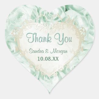 Mint Green Rose Elegance -  Thank You Heart Sticker