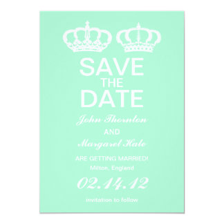 Mint Green Royal Couple Save the Date 13 Cm X 18 Cm Invitation Card