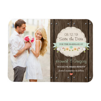 Mint Green Rustic Floral Boho Save the Date Rectangular Photo Magnet