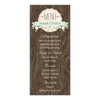 Mint Green Rustic Floral Wedding Menu Card