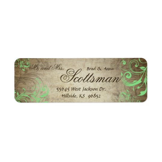 Mint Green Rustic Return Address Label
