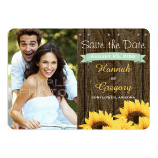 MINT GREEN RUSTIC SUNFLOWER SAVE THE DATE CARD CUSTOM INVITE