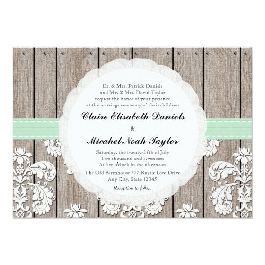 Mint Green Rustic Wood Lace Wedding Invitations
