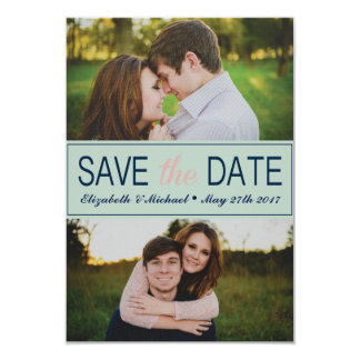 Mint Green Save the Date with Photos Card