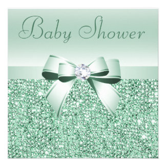 Mint Green Sequins, Bow & Diamond Baby Shower Personalized Invitation