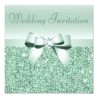 Mint Green Sequins, Bow & Diamond Wedding 13 Cm X 13 Cm Square Invitation Card