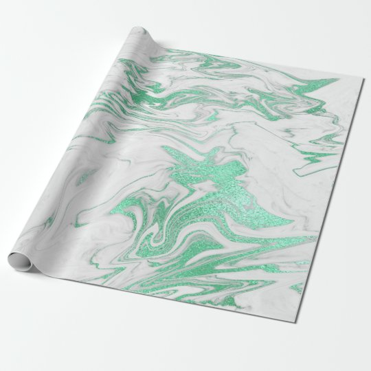 Mint Green Silver Gray White Marble Shiny Glam