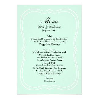 Mint Green Simple Elegance Wedding Menu 11 Cm X 16 Cm Invitation Card