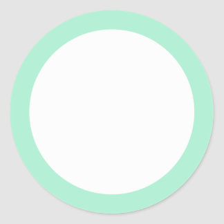Mint green solid color border blank round sticker