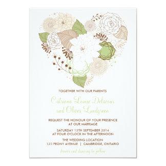 Mint Green Spring Heart Flowers Wedding Invitation
