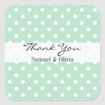 Mint Green Square Custom Polka Dotted Thank You Square Stickers