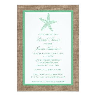 Mint Green Starfish Beach Burlap Bridal Shower Card