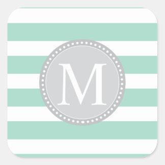 mint green stripe .ai square sticker
