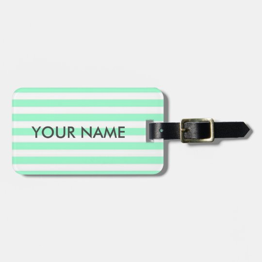 MINT GREEN STRIPES. CLASSIC STRIPY LUGGAGE TAG