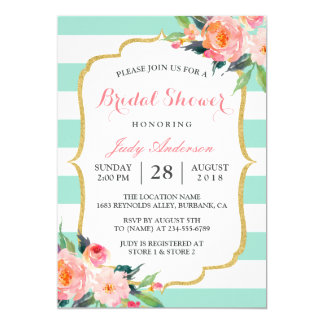 Mint Green Stripes | Floral Chic Bridal Shower 13 Cm X 18 Cm Invitation Card