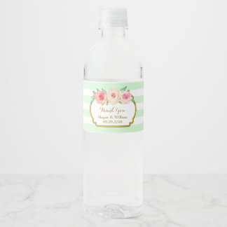 Mint Green Stripes Floral Gold Water Bottle Label