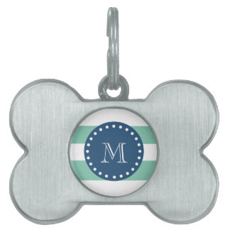 Mint Green Stripes Pattern, Navy Blue Monogram Pet Name Tag