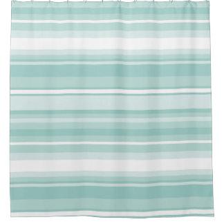 Mint green stripes shower curtain