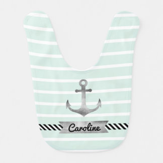Mint Green Stripes Watercolor Anchor Custom Bib
