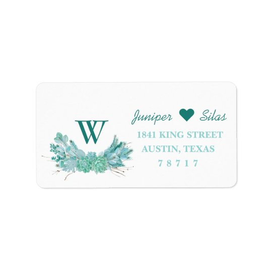 Mint Green Succulent Return Address Label